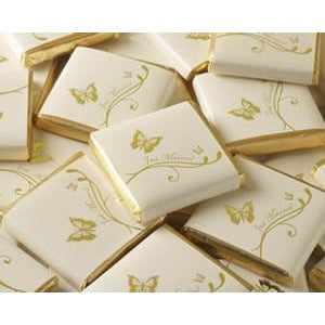 Chocolate Square - Butterfly - Ivory / Gold