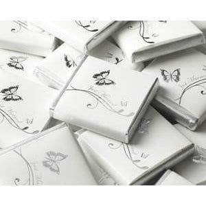 Chocolate Square - Butterfly - White / Silver