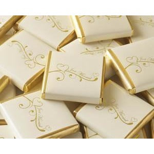 Chocolate Square - Heart - Ivory / Gold