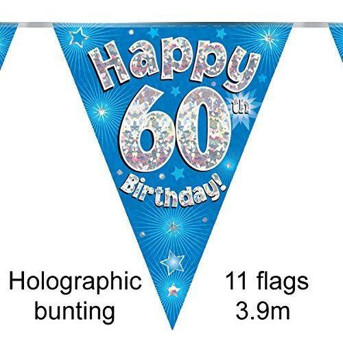 HAPPY 60TH BIRTHDAY BLUE HOLOGRAPHIC BUNTING