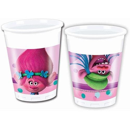 CUPS PLASTIC 200ML 8CT,  TROLLS