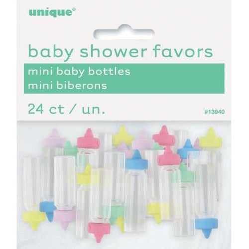 Mini Baby Bottles Favors - Assorted Colors, 24ct
