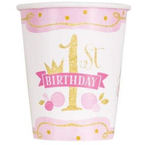 Pink & Gold First Birthday 9oz Paper Cups, 8ct