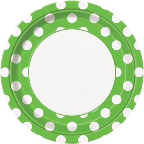 "8 Lime Green Dots 9"" Plates"