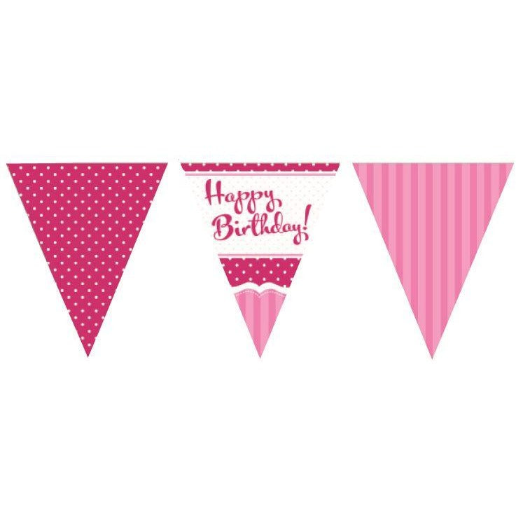Perfectly Pink Bunting Happy Birthday