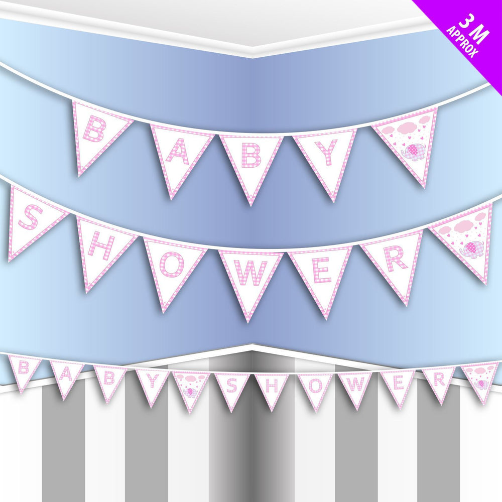 Davies Pink Checkered Elephant Baby Shower Bunting