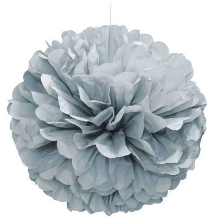 "Silver Solid 16"" Hanging Tissue Pom Pom"