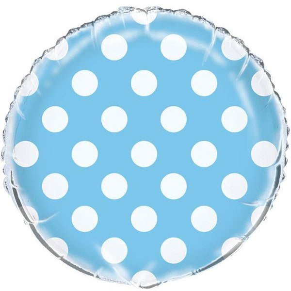 Powder Blue Dots Foil Balloon