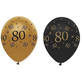 Creative Party Latex Balloons Black & Gold Age 80