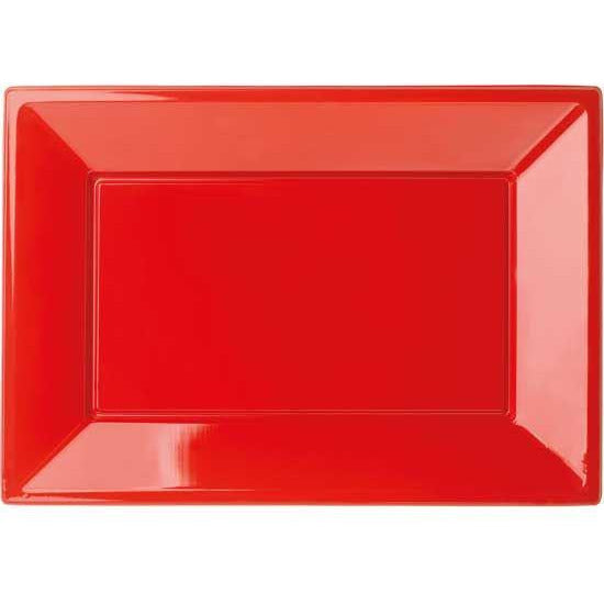 Red Plastic Rectangular Trays 32X23 end of line April 2018