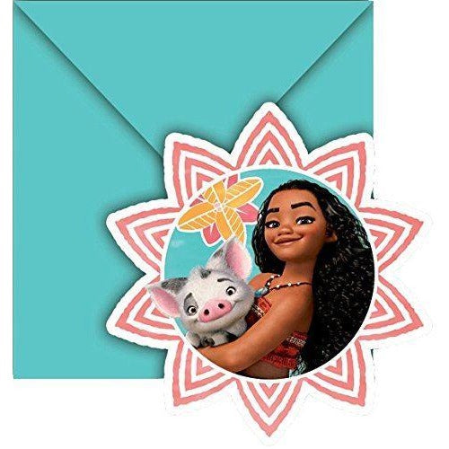INVITATIONS & ENVELOPES 6CT,  MOANA