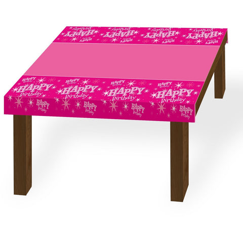 TABLE COVER 180X130CM,  HAPPY BDAY PINK SPARKLE