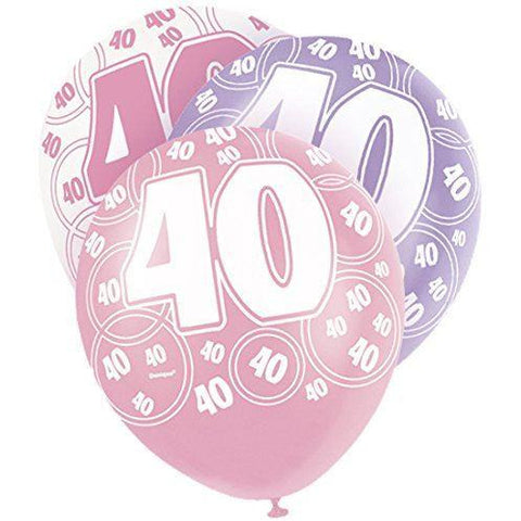 Pink Glitz Latex Balloons Age 40 (Special price of 65p)