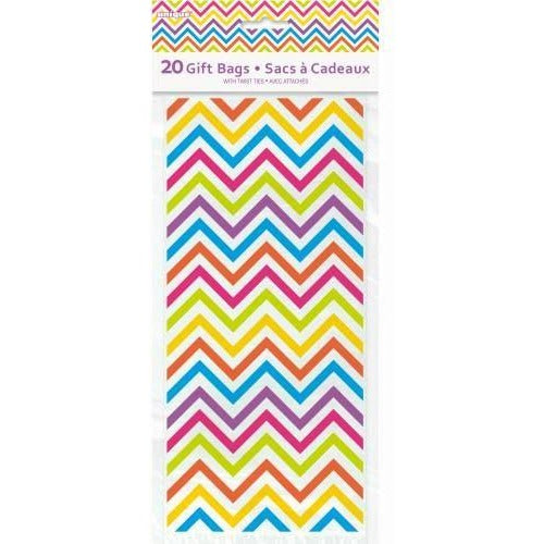 "Rainbow Chevron Cellophane Bags 5""x11"", 20ct (special price 0.38 when ordered in mixed pallet of 1440)"