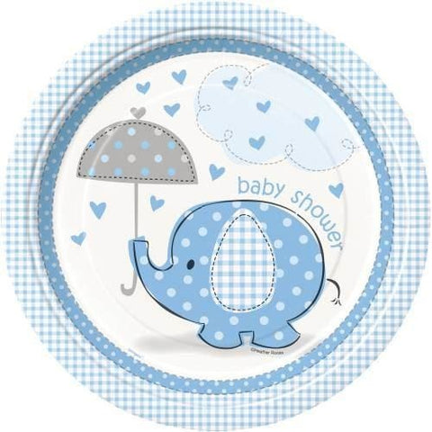 "Umbrellaphants Blue Round 9"" Dinner Plates, 8ct"