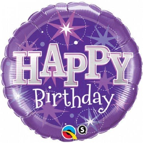 Qualatex happy birthday foil purple sparkle