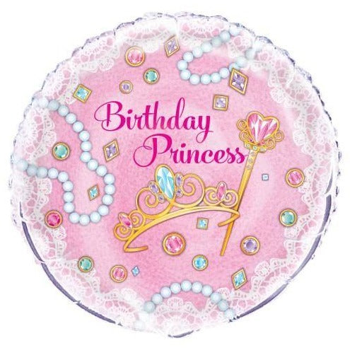"Pink Princess Round Foil Balloon 18"", Packaged"