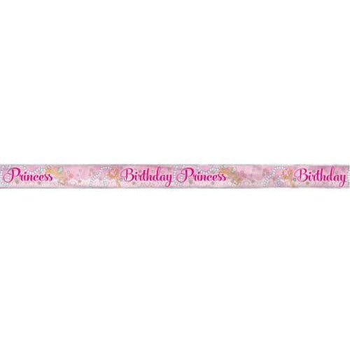 Foil Pink Princess Banner, 12 ft, Long Fold