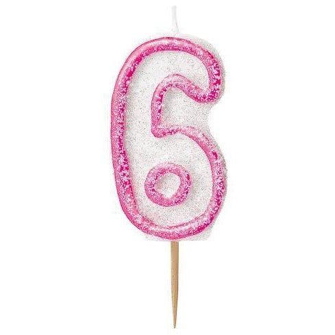 Birthday Pink Glitz Number 6 Numeral Candles