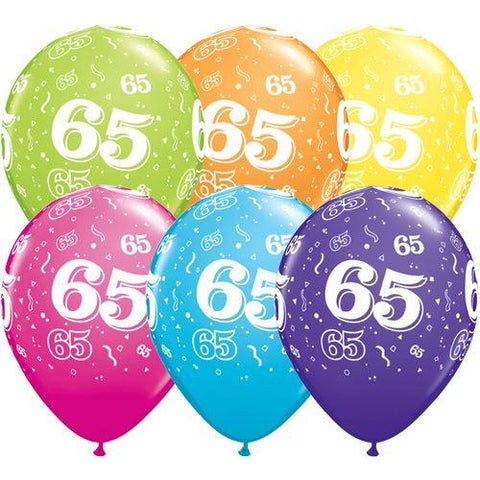 Birthday Latex Balloons Age 65  Retail Pack