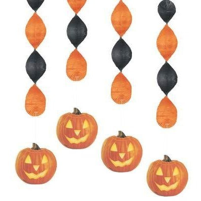 "Pumpkin Glow Hanging Decoration, 18"", 4ct Halloween"