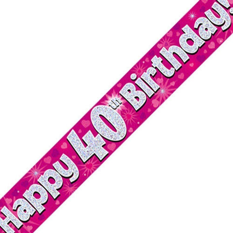 Pink Holographic Foil Birthday Age 40 Banner. Happy 40th Birthday Banner - Wholesale