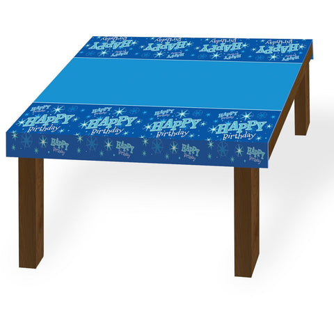 TABLE COVER 180X130CM,  HAPPY BDAY BLUE SPARKLE