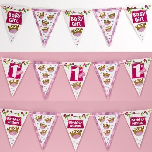 Little Owls - Bunting - Multi - Pink