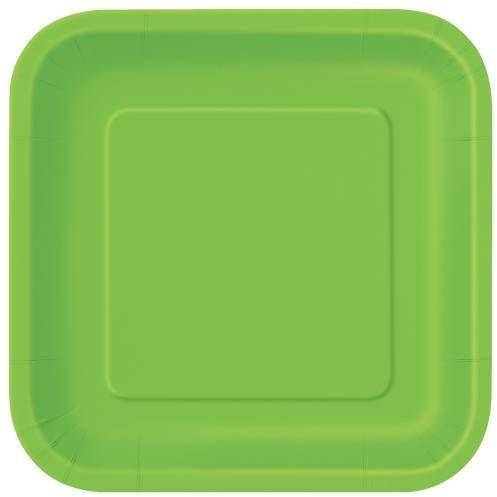 "16 Lime Green 7"" Square Plates"