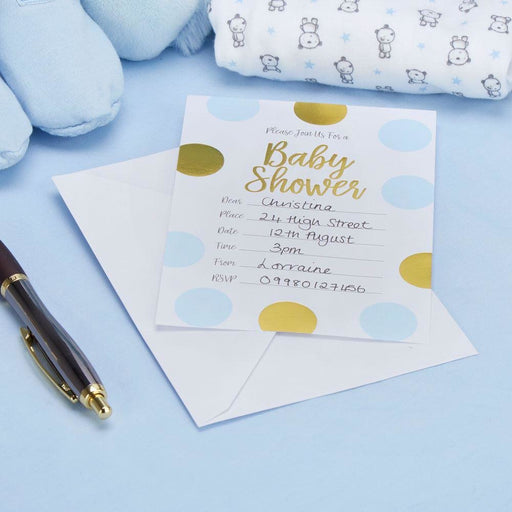Pattern Works - Baby Shower Invitations with Envelopes Blue