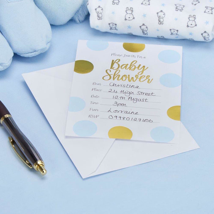 pattern works baby shower invitations with envelopes blue house