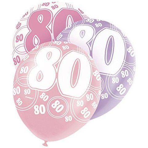 Pink Glitz Latex Balloons Age 80 (Special price of 65p)