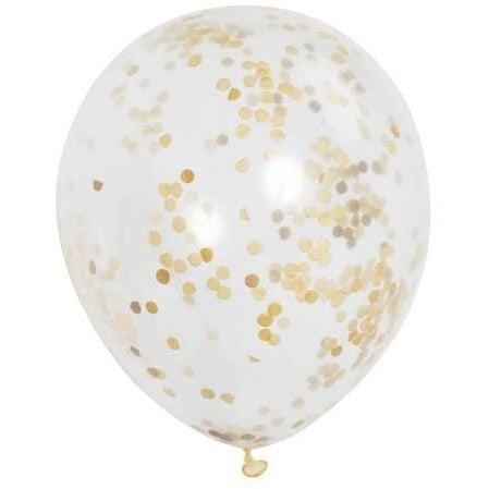 "12"" Clear & Gold Confetti Filled Balloons"
