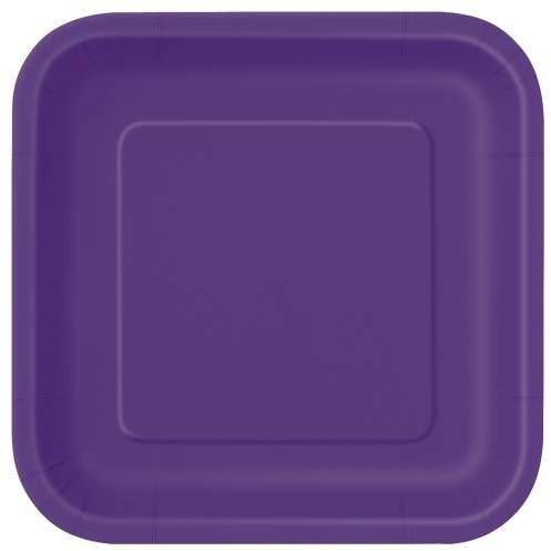 "Deep Purple Solid Square 9"" Dinner Plates, 14ct"