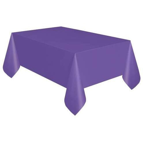 "Neon Purple Solid Rectangular Plastic Table Cover, 54""x108"""