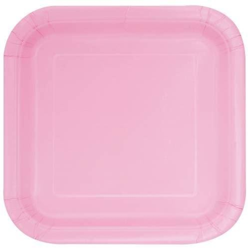 "14 Lovely Pink 9"" Square Plates"