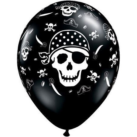 11'' Pirate Skull & Crossbones Black/White Balloons retail pack