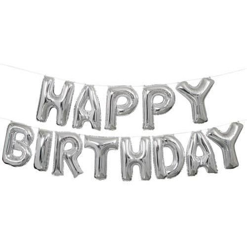 "14"" Silver Happy Birthday Balloon Banner Kit"