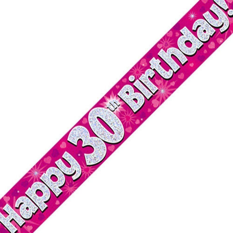 Pink Holographic Foil Birthday Age 30 Banner. Happy 30th Birthday Banner - Wholesale
