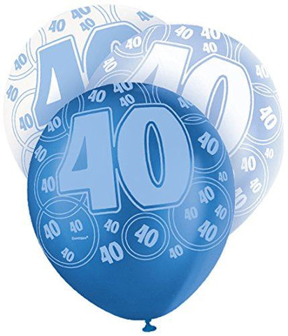 Blue Glitz Latex Balloons Age 40 (Special price of 65p)