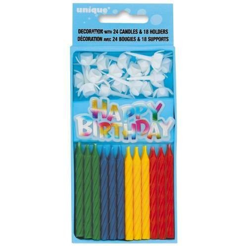 Multicolor Birthday Candle & Holder Set, 43pc