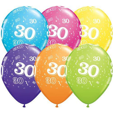 Birthday Latex Balloons Age 30 Retail Pack