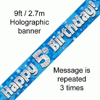 Blue Holographic Foil Birthday Age 5 Banner. Happy 5th Birthday Banner - Wholesale