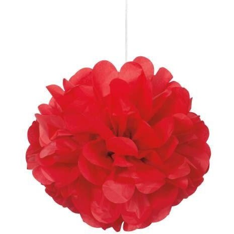 "3 Red 9"" Mini Puff Decorations  (Also Upstairs)"