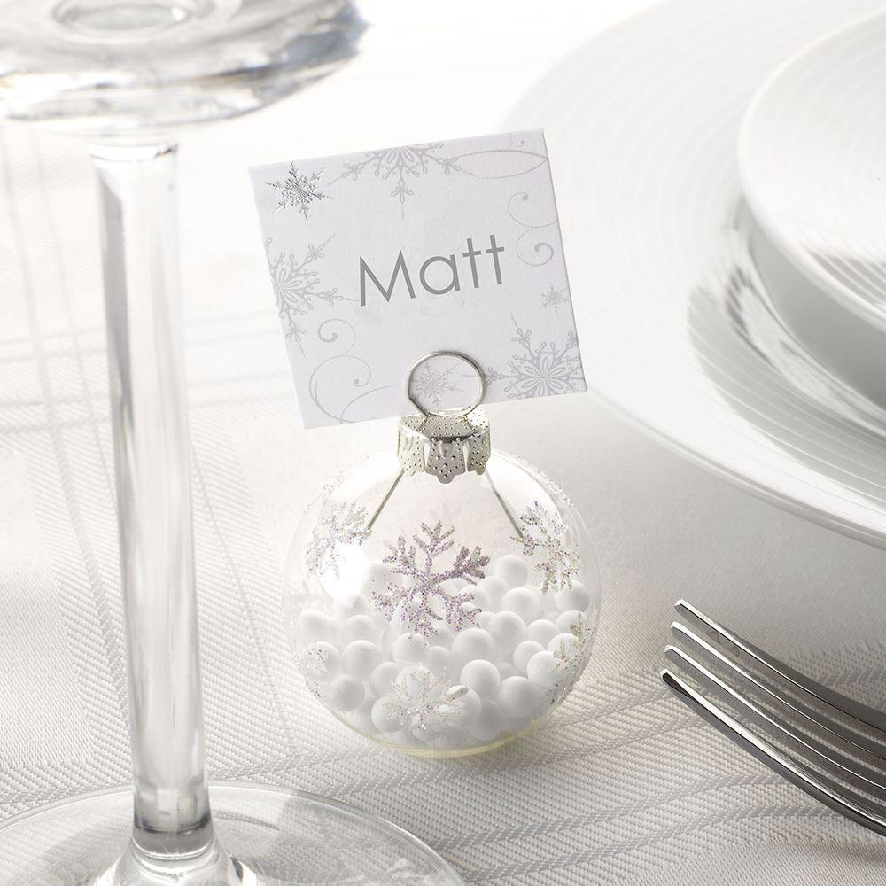 Shimmering Snowflake Bauble Place Card Holders (Christmas) - pack with bubble wrap