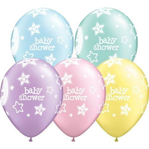 QX 11R 06CT PRINT RETAIL PKG,  BABY SHOWER MOONS & STARS