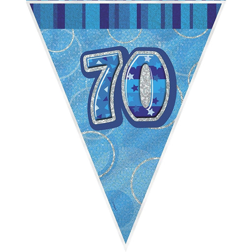 Blue Glitz Flag Banner Age 70 (9ft) (special price of 42p) (Also Upstairs)