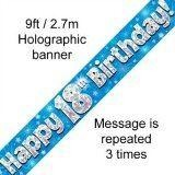Blue Holographic Foil Birthday Age 18 Banner. Happy 18th Birthday Banner - Wholesale