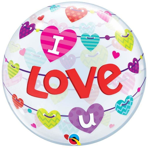 "22""  SINGLE BUBBLE        01CT I LOVE U BANNER HEARTS"