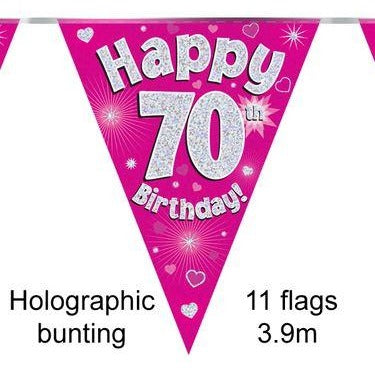 HAPPY 70TH BIRTHDAY PINK HOLOGRAPHIC BUNTING